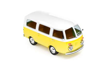 retro travel van in cartoon style isolated on white photo