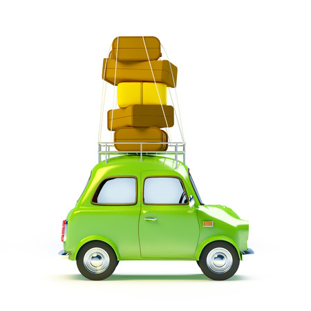 small and cute green retro travel car, side view with luggage on white background
