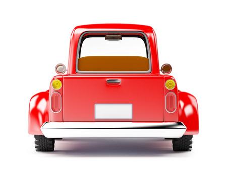 Vieux camion rouge isolé sur fond blanc. Vue arrière. Banque d'images - 40657205