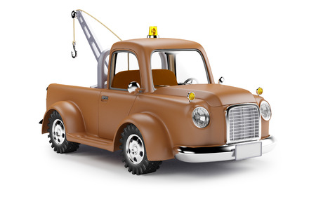 old cartoon tow truck on white background
