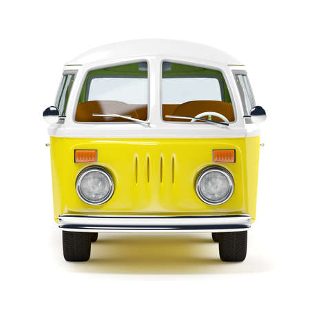 in front: retro travel van in cartoon style, front view, isolated on white Stock Photo