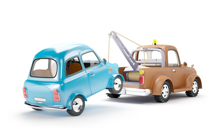 truck road: old cartoon tow truck with car on white background, back view