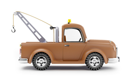 evacuate: old cartoon tow truck on white background, side view
