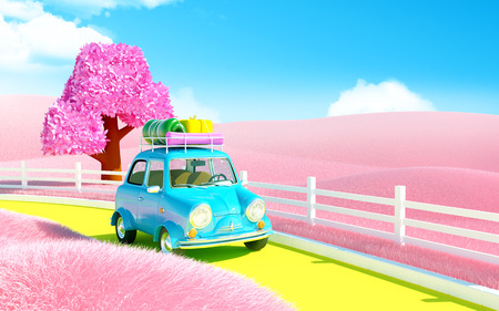 small car: small car on a road in pink field of neverland