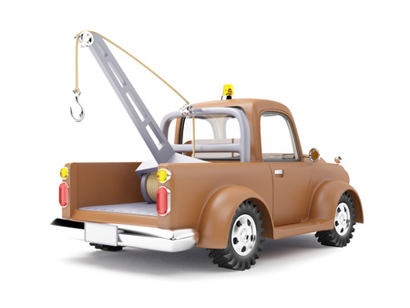 truck road: old cartoon tow truck on white background, back view