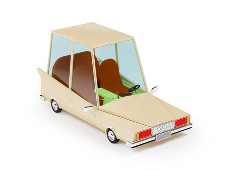 small children: cartoon 1970 car in hipster styles on white background