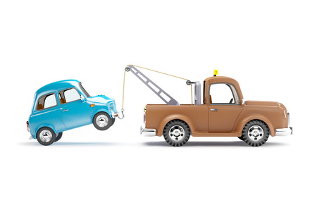 old cartoon tow truck with car on white background, side view Archivio Fotografico