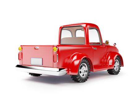 白い背景で隔離の赤い古いトラック。背面図。