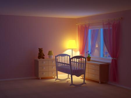 slaapkamer van de baby met cradle 's nachts. Lege ruimte, 3d illustratie. Stockfoto