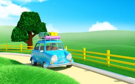 landscape road: Small trip car on road in farm field Stock Photo