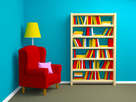 blue room with armchair and bookcase in corner Zdjęcie Seryjne