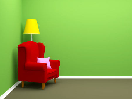 room wall: armchair in corner of empty room. 3d illustration.