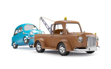 Viejo camión de remolque de dibujos animados con el coche en el fondo blanco Foto de archivo - 44218798