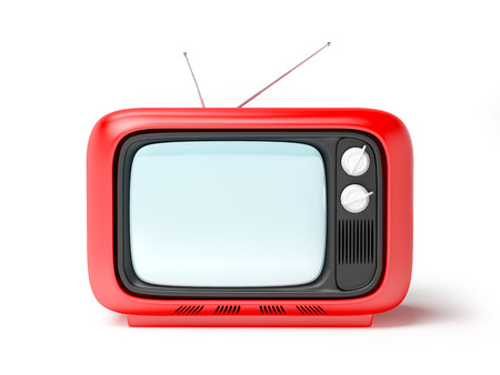 seventies: retro tv in seventies style isolated on white. Front view