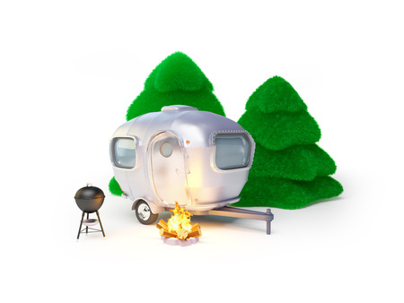 campsite: Vintage trailer with grill and campfire. Retro camping. Stock Photo