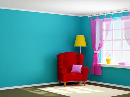fauteuil in lege ruimte met venster. 3D-afbeelding.