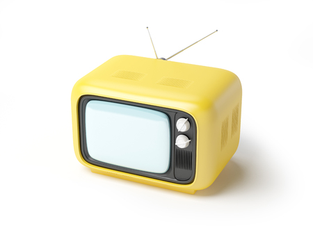 retro tv in seventies style isolated on white.