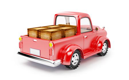 Geladen rode oude vrachtwagen op een witte achtergrond