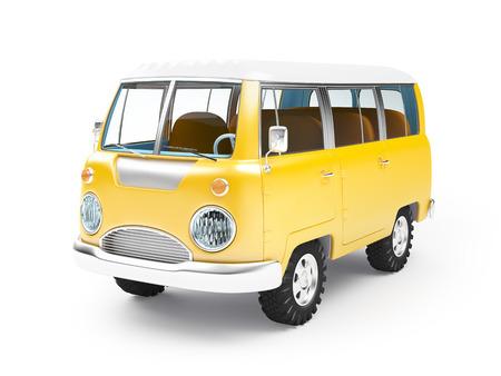 retro safari busje in cartoon stijl geïsoleerd op wit Stockfoto