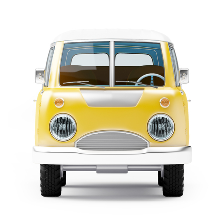white van: retro safari van in cartoon style, front view, isolated on white Stock Photo