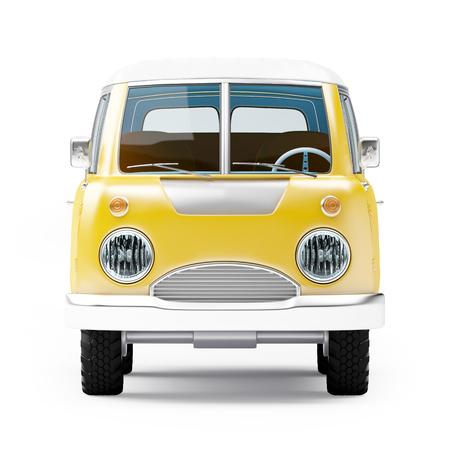old bus: retro safari van in cartoon style, front view, isolated on white Stock Photo