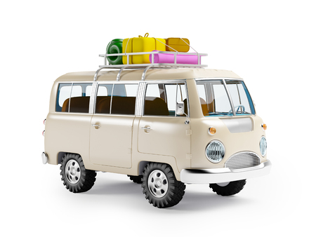 summer holiday: retro safari van with roof rack in cartoon style isolated on white