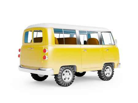 retro safari van in cartoon style, back view, isolated on white Stok Fotoğraf