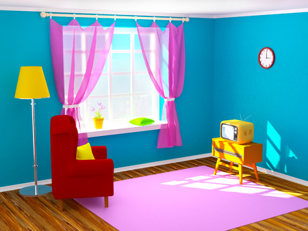 the seventies: Vintage room with tv in seventies style. 3d illustration.