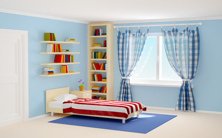 bed room: bed room with striped bed and bookshelves. 3d illustration
