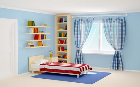 slaapkamer met gestreepte bed en boekenkasten. 3d illustratie Stockfoto