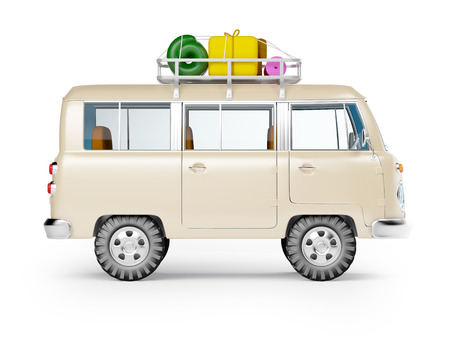 rack: retro safari van with roof rack in cartoon style isolated on white, side view