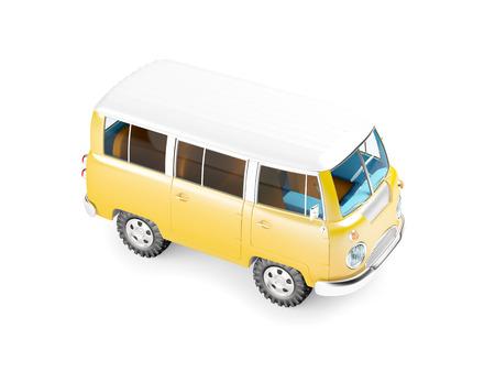 old bus: retro safari van in cartoon style isolated on white Stock Photo