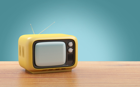television screen: retro tv in seventies style isolated on a table