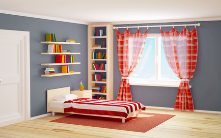 playroom: bed room with striped bed and bookshelves. 3d illustration