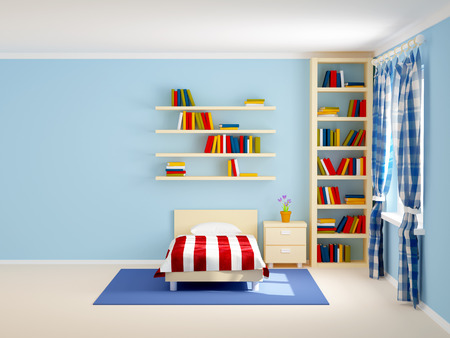 hotel room door: bed room with striped bed and bookshelves. 3d illustration