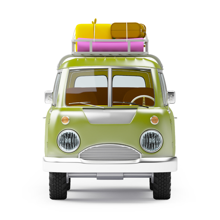 retro safari van with roof rack in cartoon style isolated on white, front view