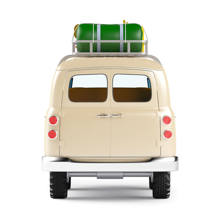 white van: retro safari van with roof rack in cartoon style isolated on white, back view