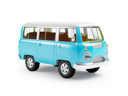 retro safari van in cartoon style isolated on white Stock Photo