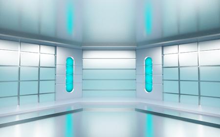 futuristic: Futuristic hall with metallic walls and blue lights. 3d illustration. Stock Photo
