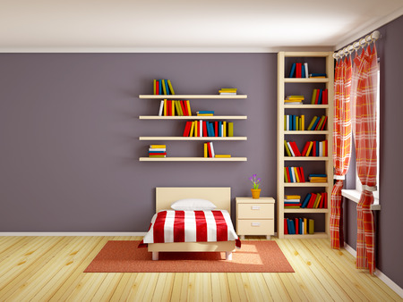 baby blue: bed room with striped bed and bookshelves. 3d illustration