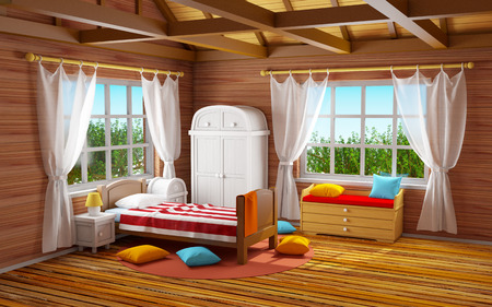 at leisure: fantasy bedroom in wooden home. 3d illustration Stock Photo