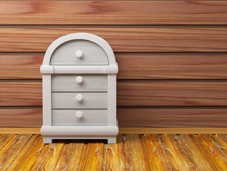 chest wall: dresser in fantasy style near the wooden wall Stock Photo