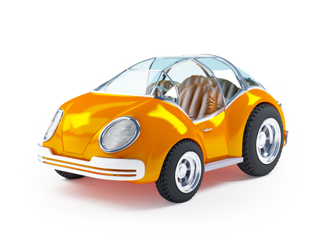 speedster: Orange futuristic toy car isolated on a white background.