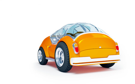 speedster: Orange futuristic toy car isolated on a white background. Back view