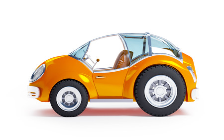car side view: Orange futuristic toy car isolated on a white background. Side view Stock Photo