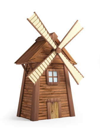 Cartoon windmolen op een witte achtergrond. 3d illustratie Stockfoto