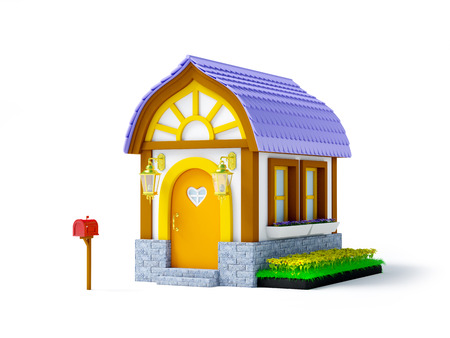 arquitecto caricatura: Cute cartoon 3d house in a fantasy style