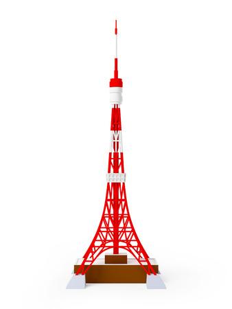 De toren van Tokyo op een witte achtergrond, 3d beeld Stockfoto