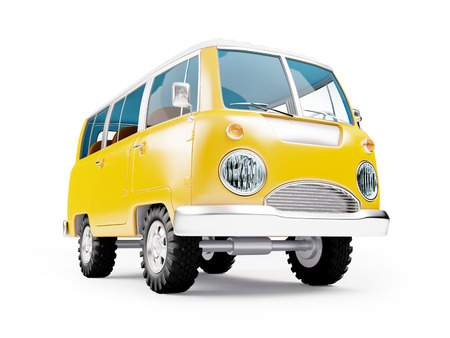 deportes caricatura: retro safari van in cartoon style isolated on white Foto de archivo