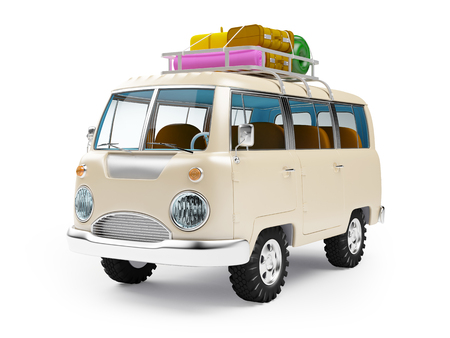 old bus: retro safari van with roof rack in cartoon style isolated on white